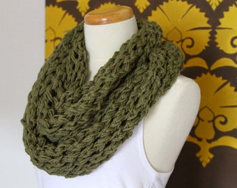 Lace knit infinity scarf in olive