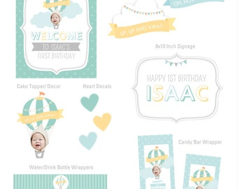 Hot Air Balloon Birthday, Hot Air Balloon Party Decoration, Hot Air Balloon Party Decor, Your Custom Photo Design Collection Party Kit