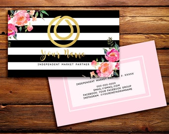 Monat Business Cards Buyer Cards || Custom Monat Hair Care Black Striped Watercolor Florals