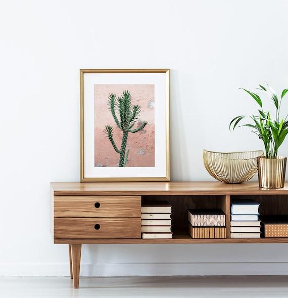 Modern Boho Decor, Bohemian Home Minimalist, Cactus Wall Art Print, Digital Download, Instant Printable,  Pink and Green Photography, Photo