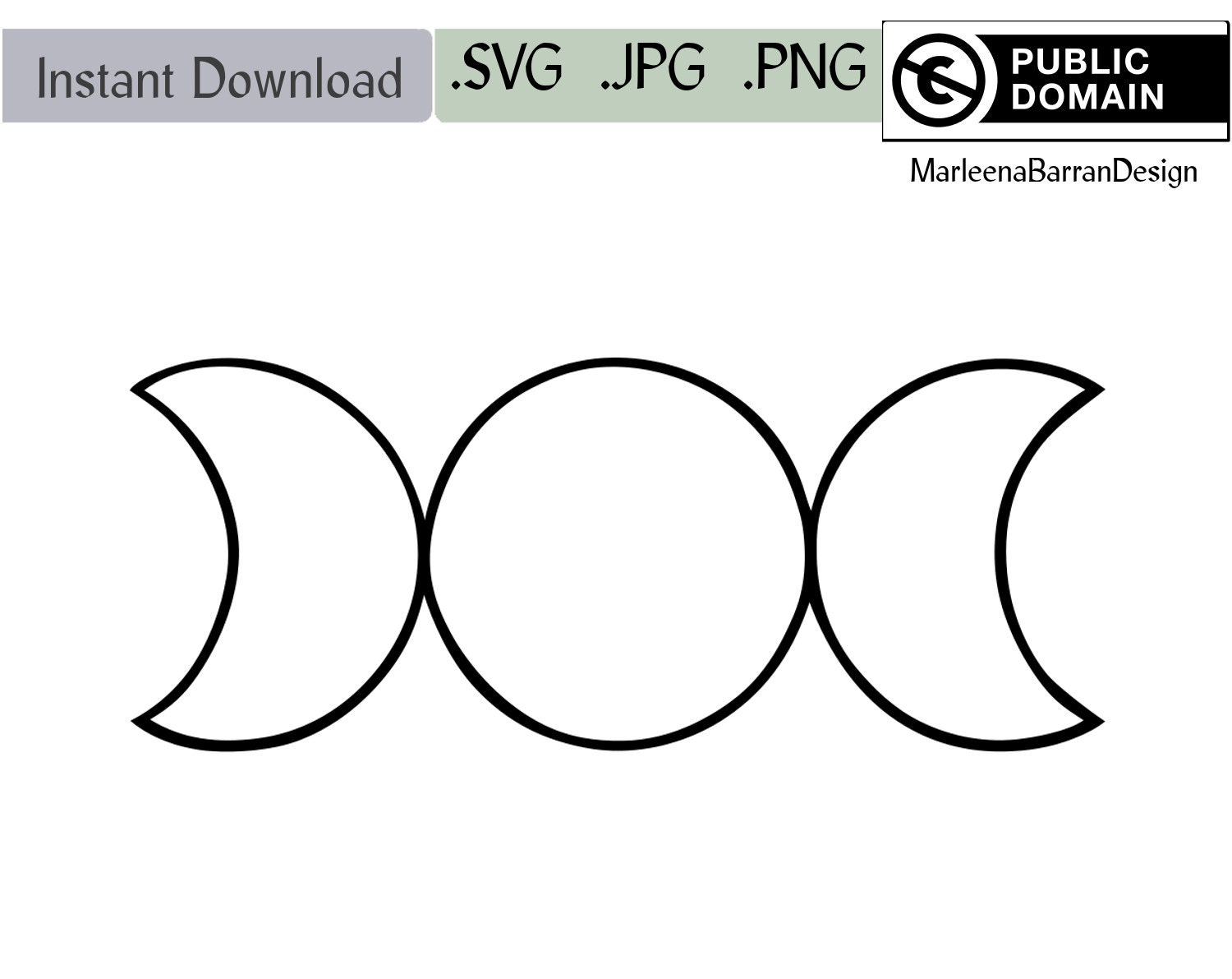 Geometrical Triple Moon Symbol Instant Download Clipart Svg
