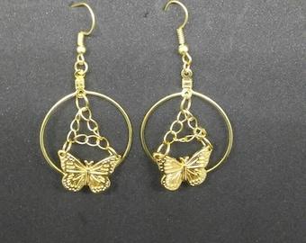 Butterfly Dangling Hoop Earrings