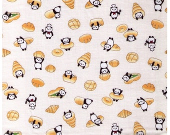 HALF YARD Cosmo Textile - Carb Loving Pandas on Ivory Double Gauze - AP75311 1A - Bread, Croissant, Bakery, Dessert, Bagel, Donut Japanese