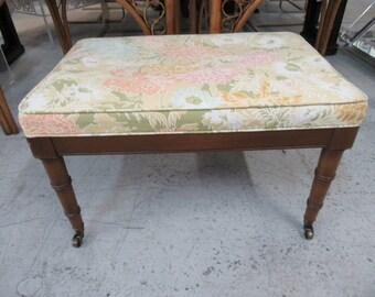 Faux Bamboo Upholstered Bench