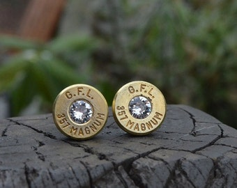 Bullet Earrings stud earrings or post earrings Fiocchi .357 magnum gold earrings .357 magnum earrings with Swarovski April birthstones
