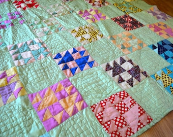 Beautiful Hand Stitched Vintage Patchwork Satin Quilt