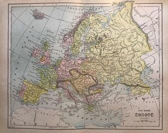 Antique Map Europe, circa 1890