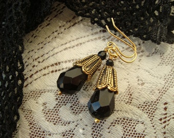 Black Drop Earrings in Faceted Glass With Antiqued Gold Filigree