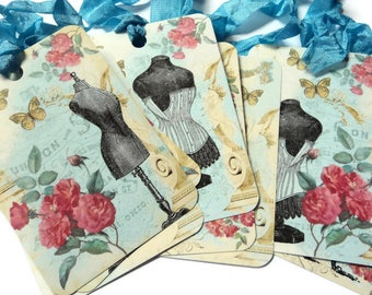 4 Vintage Inspired Paris Mannequin Gift Tags, Aqua Blue Rose Pink, Butterflies, Roses, Note Tags, Hang Tags, Merchandise, Party Favor
