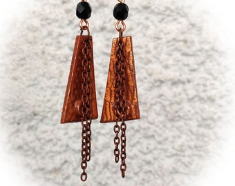 Earrings, polymer clay, copper crackled, diamond-shaped.