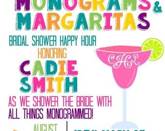 Monograms and Margaritas Bridal Shower, Birthday Invitation