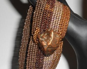 Copper Rocks Beadwoven Bracelet Cuff