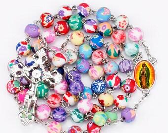 2DaySalePrice,Beautiful colorful Rosary,unique,Virgen de Guadalupe, fashion rosary, pray, catholic.