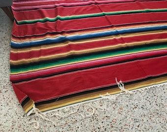 Vintage Wool Mexican Serape Saltillo Blanket