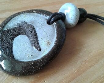 Ceramic greyhound pendant / Greyhound jewelry / Handmade greyhound necklace / Greyhound gift / Ceramic jewelry / Boho necklace
