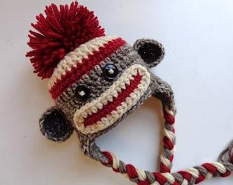 Classic/ Traditional Sock Monkey Crochet Newborn Hat- Photo prop- Baby Girl Baby Boy- Knit Hat