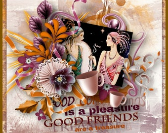 Art Deco Coffee and Good Friends Greeting Card
