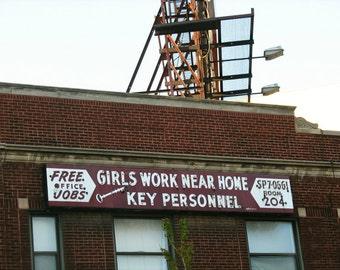 mid-century vintage neon sign photography, Chicago Photo, girls, work, job, burgundy, wine, white, brick, city, urban, keys, signed print