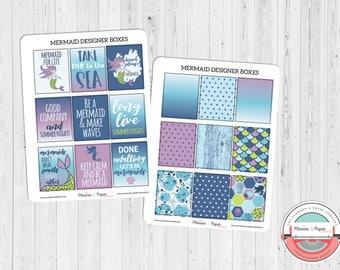Mermaid Designer Boxes Planner Stickers