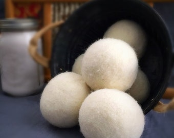 Ovella Wool Dryer Balls: The Crema Collection - Set of Three (3) No dyes, ivory, reduces static and dry time, natural, classic, pretty