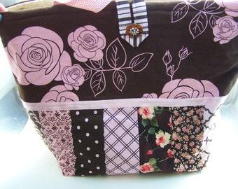 Chocolate Brown Pink Roses Tote Bag Handmade Quilted Doodaba Handbag