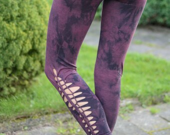 Cut Out Leggings/ Festival Wear/Hand dyed Leggings/Braided Leggings/Festival Wear/Unique Leggings/Yoga Wear
