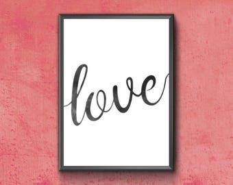 Love Print | Love Calligraphy | Love Word Art | Love Typography Print | Love Word | Love Poster | Love Digital Download | Love Printable