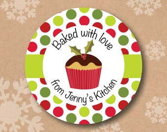 From the Kitchen of Sticker Labels Baked with Love Stickers Christmas Holiday Treat Label Personalized Cupcake Kitchen Stickers