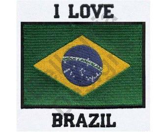 I Love Brazil - Machine Embroidery Design, Brazil, Flag of Brazil