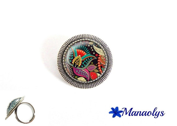 ring adjustable antique silver round, multicolored patterns, 198 glass cabochons