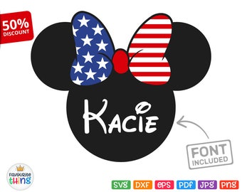 Minnie Head SVG, Stars and Stripes Bow Svg PATRIOTIC Girl Shirt US Flag Svg Disney July 4th Cuttable Clip art for Cricut, Silhouette Dxf Png