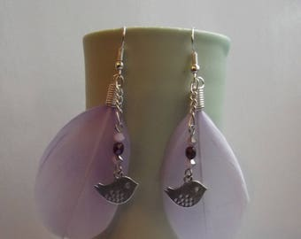 Purple Indian earrings - bird feather with silver bird (220816 D)