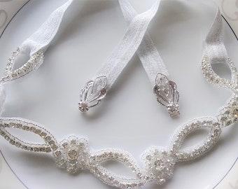 Stretch Belt Rhinestone Trim Silver Thin Skinny Waist Clasp Buckle Elastic Sash Belt Flower Girl Bridesmaid Prom Wedding Bridal Dress Gown
