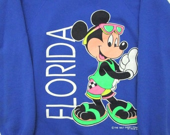 Vintage 1990s Mickey Mouse Florida Sweatshirt S M