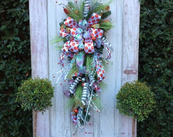 Christmas Swag, Christmas Wreath for door,Red Christmas Wreath, Red Christmas Swag, Christmas Swag for door, Front door Christms Wreath