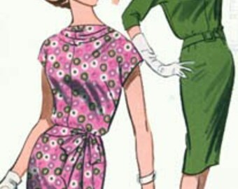 Vintage 60s Butterick 9657 CURVY MAD MEN Sheath Dress with Cowl Neck and SCOOP back Size 12 UNCUT