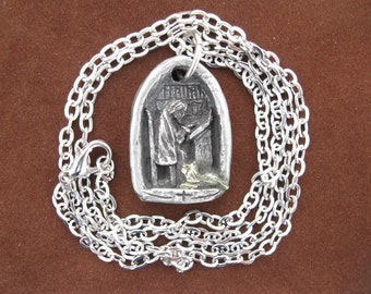 St. Jerome, Patron of Book Lovers, Librarians, Translators, Bookstore Owners; Handmade Medal on Chain