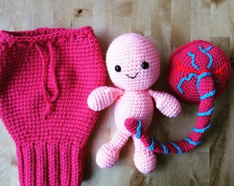Uterus, placenta, baby and umbilical cord, Teaching aid. Midwife. Doula. Ready to ship!