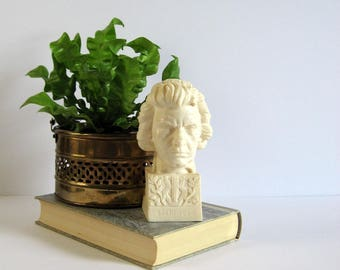 Beethoven Bust - Vintage Figurine - Music Composer Portrait Sculpture by Santini Italy - White Room Decor - Musicians Decor Desk Paperweight