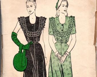 1940s Butterick Sewing Pattern 3781 Misses One Piece Dress: Ruffle Trimmed Yoke Size 16