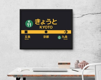 Kyoto Karasuma Line Subway Train Station Sign Japan Poster Wall Art Print