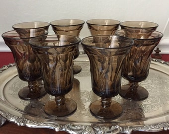 """Fostoria """"Jamestown"""" Light Brown Ice Tea Glasses from the 1960s. You may purchase 4 or 8 glasses"""
