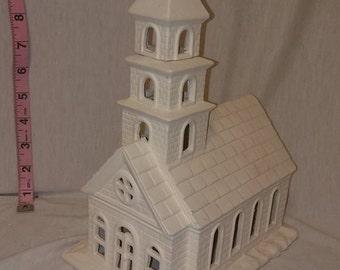 "Village Church 12"" x 7"" ready to paint ceramic bisque"