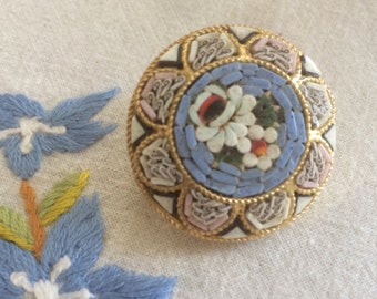 Vintage Micromosaic Light Blue Floral Brooch, Italian Micromosaic Floral Pin, Micromosaic Brooch,Blue Italian Mosaic Brooch, Gift for Her