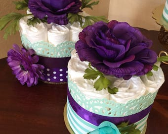 Purple/Aqua Diaper Cakes/Baby Girl Shower Centerpieces/Mother-To-Be Gift/It's A Girl/Baby Shower