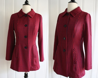 vintage 60s Houndstooth Red Jacket / 1960s Red and Navy Fitted Princess Cut Jacket / Medium