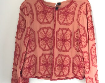 Boho Beautiful coral pink beaded shrug bolero