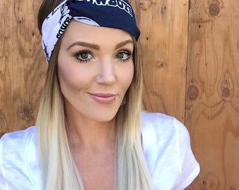 Dallas Cowboys Vintage Style Turban Headband || Hair Band Accessory Cotton Workout Yoga Fashion Navy Blue White Texas Head Scarf Girl Gift
