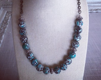 Turquoise Beaded Antique Silver Necklace