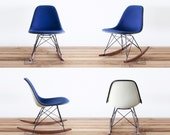 Classic Eames RSR - Navy Blue Hopsack on Walnut Rocking Base Chair